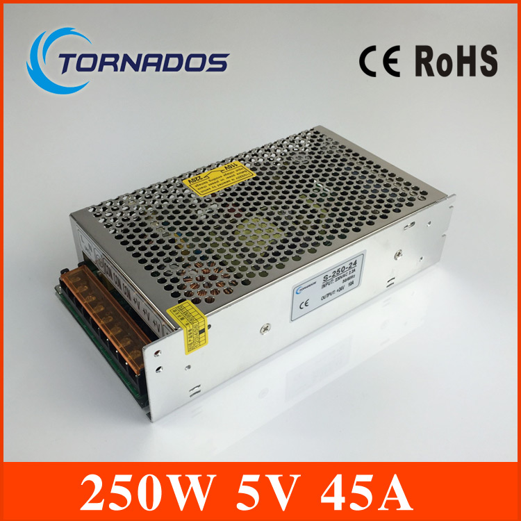 250W DC 5V 45A Switching Power Supply Transformer LED CCTV Camera DVR Security LED monitoring equipment free shipping security 5v 30a dc regulated switching power supply for led camera monitor