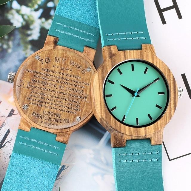 الحب خشب مصنوع حسب الطلب ساعات امرأة لزوجتي إلى نصفه الملكي الأزرق ساعة ساعة هدايا المناسبات للنساء زوجة ملاكي