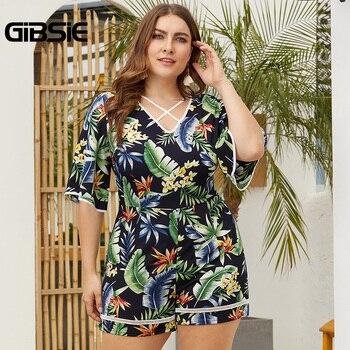 GIBSIE Plus Size Tropical Print Crisscross V-Neck Romper Women Summer Vacation Casual High Waist Half Sleeve Beach Playsuit