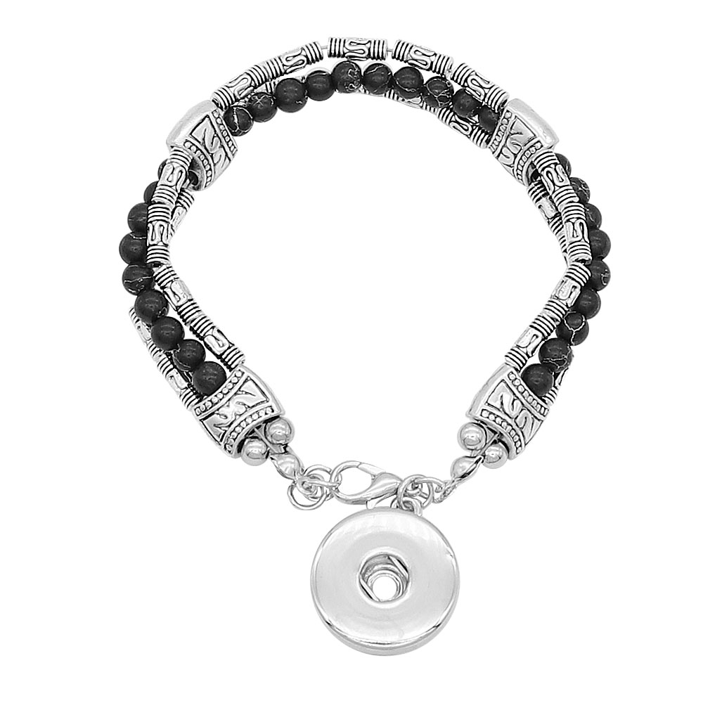 New Beads Snap Bracelet three Layer black Natural Stone Beaded Bracelet Fit 18mm 20mm Snap Buttons Jewelry for Women Men in Charm Bracelets from Jewelry Accessories