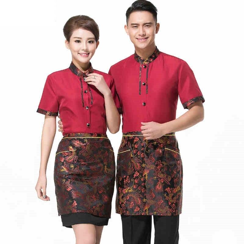 (10 Set-shirt & Schort) Made In China Hotel Ober En Serveerster Werken Pak Goedkope Prijs Restaurant Werkkleding Door