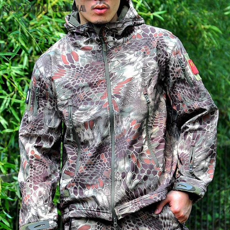 цена Mardrake Army Gear Waterproof Hard Shell Military Jacket Men Spring Camo Hooded Tactical Jacket Thin Windbreaker Coat