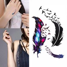 TOMTOSH Hot Waterproof Small Fresh Goose Feather Color Temporary Tattoos Stickers DIY Body Art Beauty Makeup