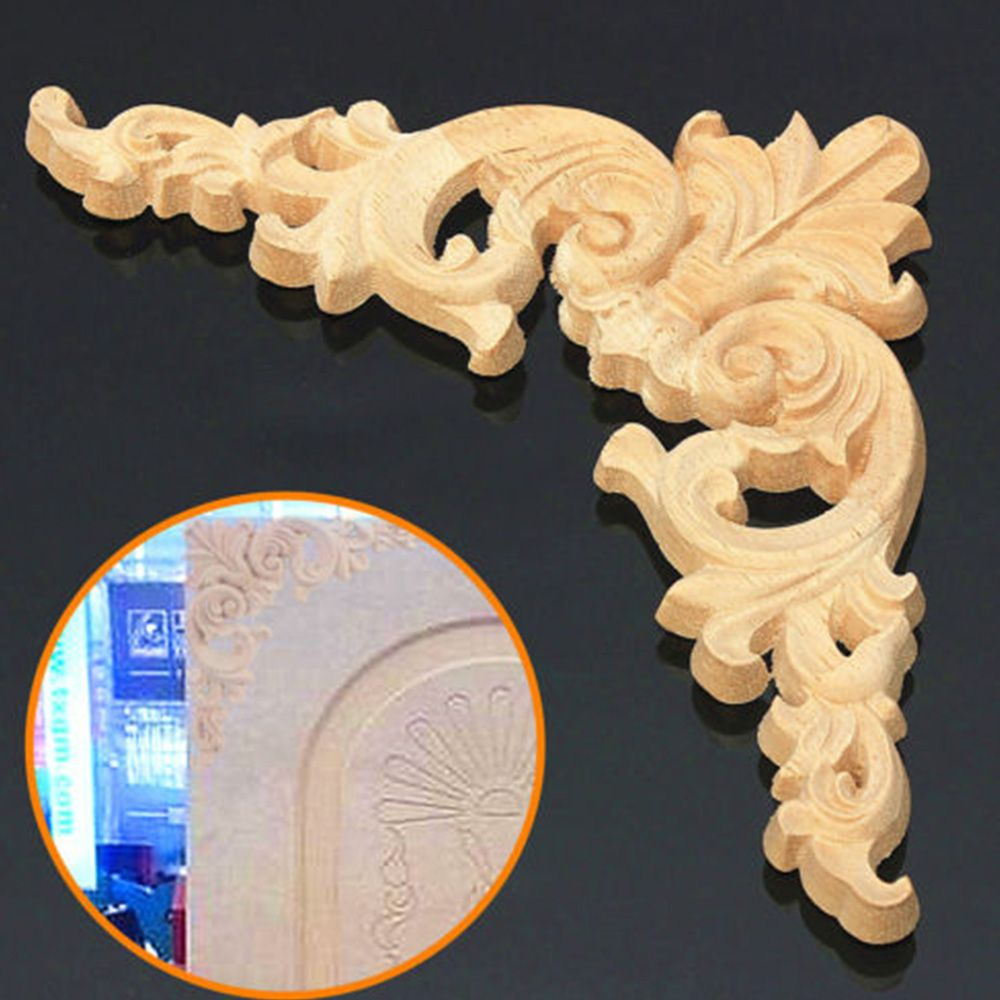 European Style New Fashion Hot Sale Unpainted Wood Oak Carved Corner Onlay Applique Furniture Home Decor 12.5x12.5cm