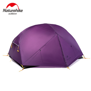 Image 3 - NatureHike Mongar Camping Tent 2 Persons Ultralight 20D Nylon Aluminum Alloy Pole Double Layer Outdoor Hiking Tent NH17T007 M