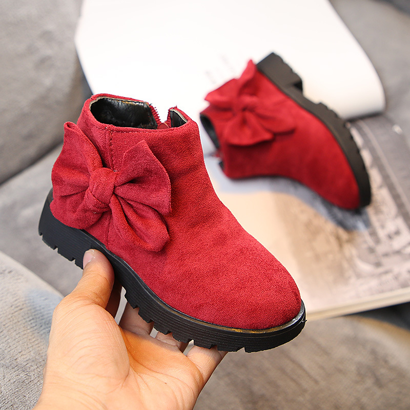 ULKNN Children's warm boots 2018 winter wear-resistant bow girls booties big Kid fashion wild princess shoes anti-skiing boots
