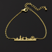 Фотография GORGEOUS TALE London Skyline Bracelet For Women 2017 Stainless Steel Cityscape Jewelry Fashion Gold Bar Chains Link Bracelet