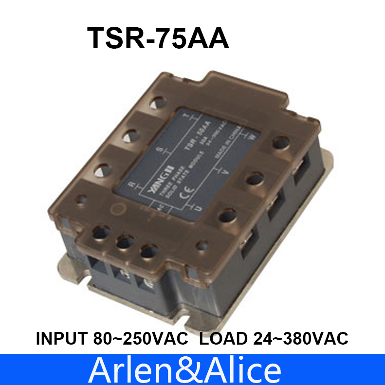 75AA TSR-75AA Three-phase SSR input 80~250VAC load 24-380VAC single phase AC solid state relay normally open single phase solid state relay ssr mgr 1 d48120 120a control dc ac 24 480v