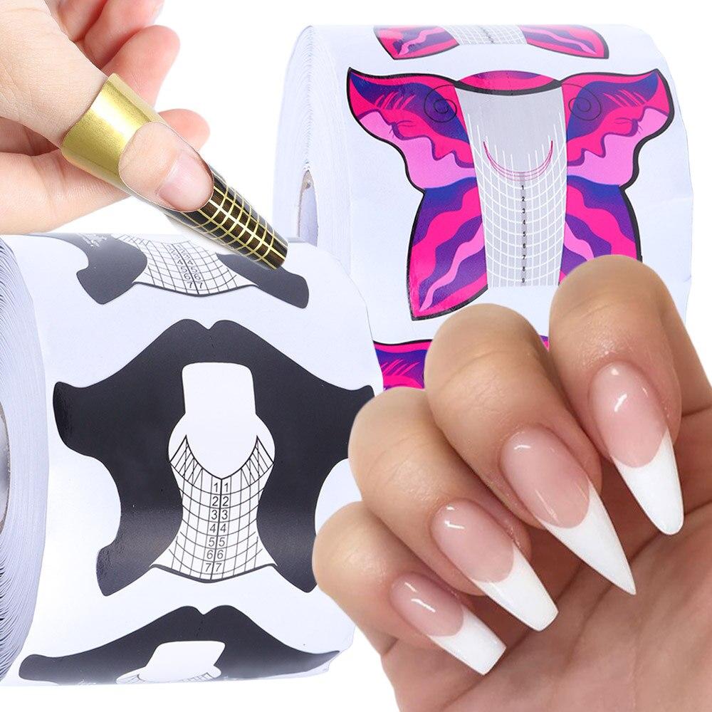 300/500 stücke Nail Forms UV Gel Gebäude Erweiterung Leitfaden Tipps Nail art Klebstoff Aufkleber DIY Französisch Maniküre Papier Werkzeuge JI941-2