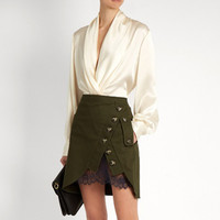 Self Portrait Short Skirts 2017 Women Saia Sexy High Waist Army Green Patchwork Lace Button Placketing