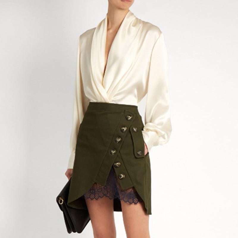 Women Denim skirts 2017 women saia sexy high waist army green patchwork lace buttons Wrap Skirts irregular Mini skirts