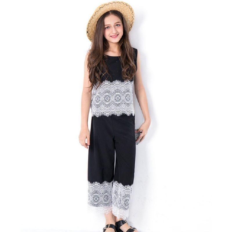 Teen Girls Sets Cotton Lace 2pcs Tops Pants Clothes Kids 5 7 9 11 10 12 14 years Summer Teenage Floral Print Children Clothing teenage girls clothing sets for teens girl children summer half sleeves t shirts skirt pants 11 12 13 14 kids clothes 2pcs sets