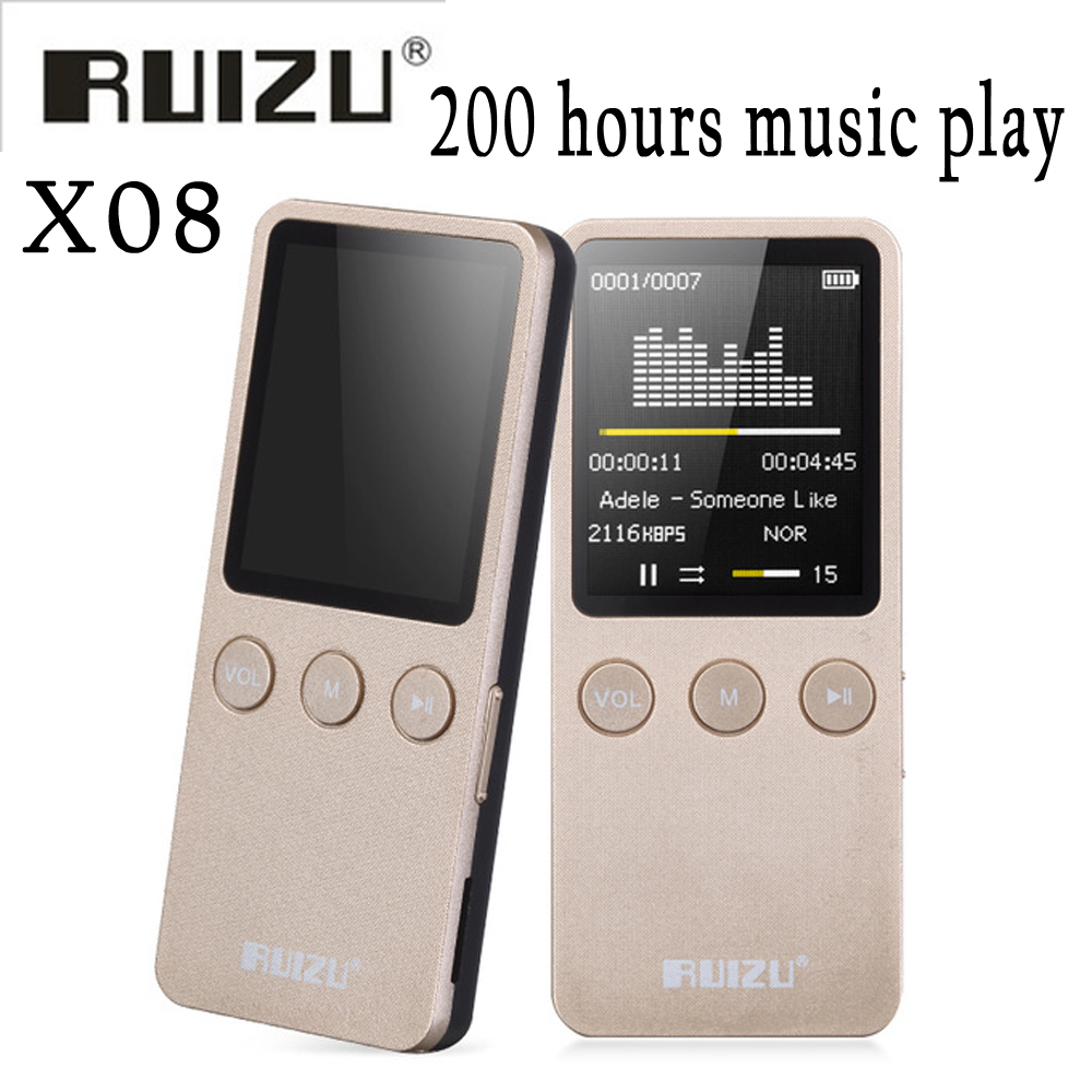 Ruizu X08 Flac Lossless Hifi Digital Audio Screen Mp 3 Music Mp3 Player 8GB With Headphone Speaker Radio FM Support TF Micro SD ruizu sport audio mini bluetooth mp3 player music audio mp 3 mp 3 with radio digital hifi hi fi screen fm flac usb 8gb clip lcd