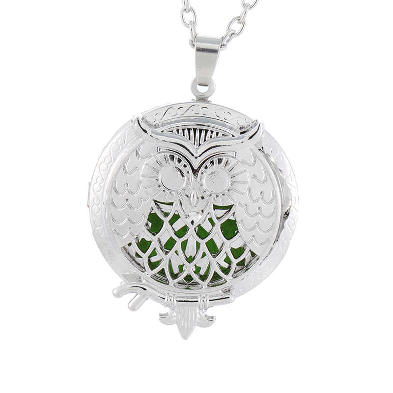 Owl vintage aroma diffuser necklace antique lock perfume oil aromatherapy necklace jewelry wholesale gift 1 hair pad SC06