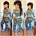 New S-XL Women Jumpsuits Casual 2016 Long Pants Sexy Camouflage Playsuit Zipper Long Sleeve Bodysuit Overalls Rompers Playsuits