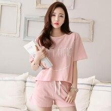 Summer2019 women pajamas set pink round neck letter short-sleeved t-shirt shorts 2pcs casual sports suit pyjama femme lounge