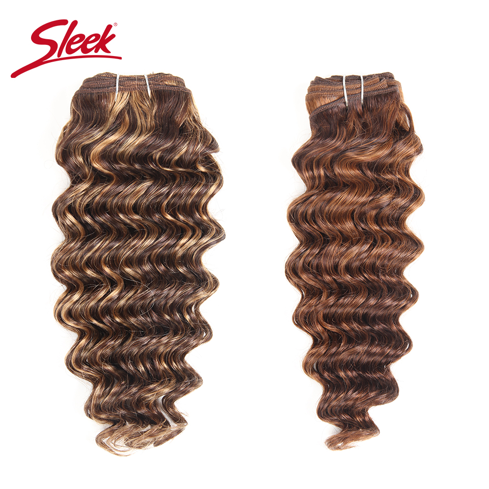 Sleek Hair 1 Piece Only Brazilian Nature Deep Wave Bundles Human Hair Weave Deal #F1B-30 P4-27 Remy Hair Extension