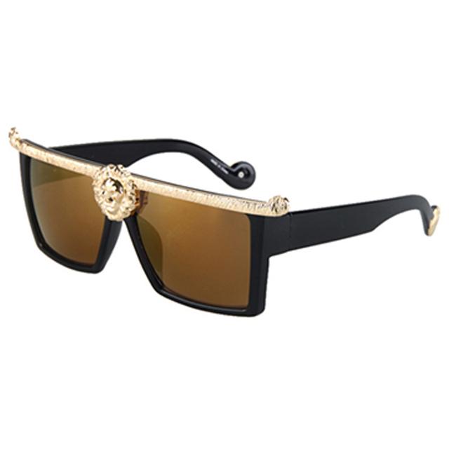 Fashion Sunglasses Men Women Lions Head Oversized Luxury Medusa Brand Designer Style