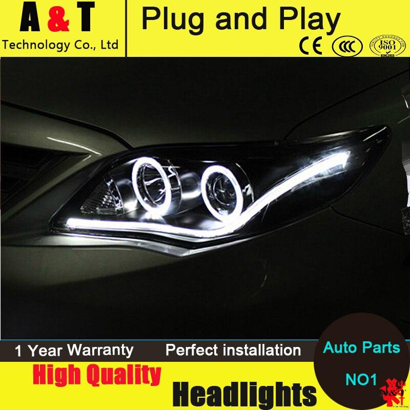 Авто Стиль освещения светодиодные лампы головного света для Toyota Венчик Альтис 2011 светодиодные фары Ассамблеи ангел глаз светодиодные DRL H7 с HID комплект 2 шт.