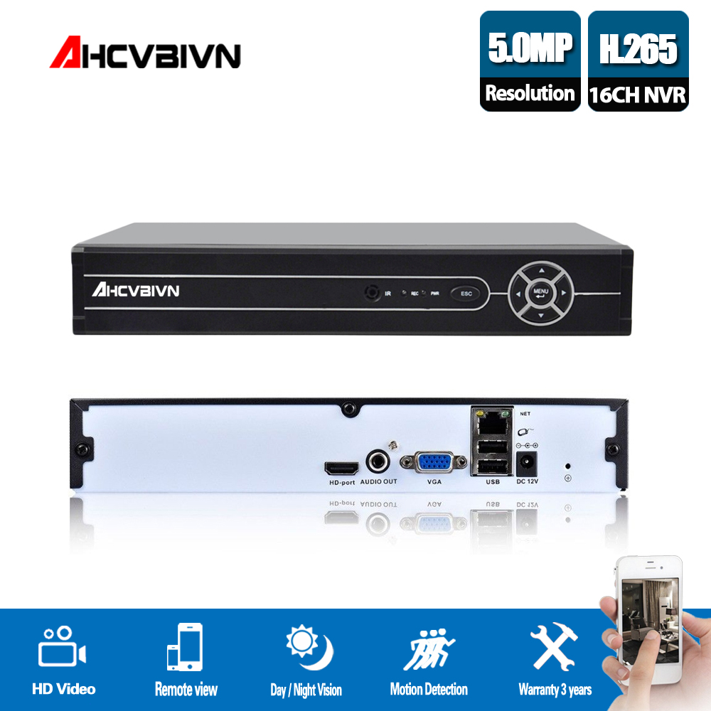AHCVBIVN 16 Channel H.265 5MP NVR System VGA HDMI Output 4CH 8CH 16CH 5MP 4MP 1080P IP Camera ONVIF 2.0 Home Security System