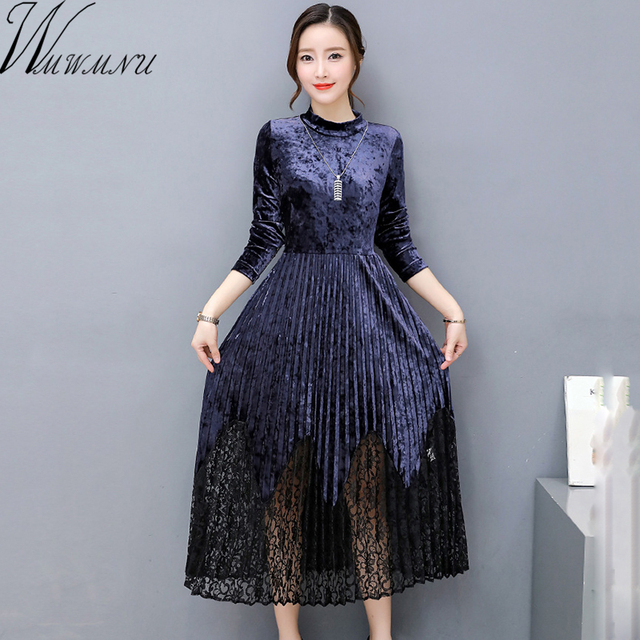 730356735736 Wmwmnu Velvet soft lace patchwork dress Vintage autumn winter sexy dress  women long sleeve Christmas party dresses vestidos