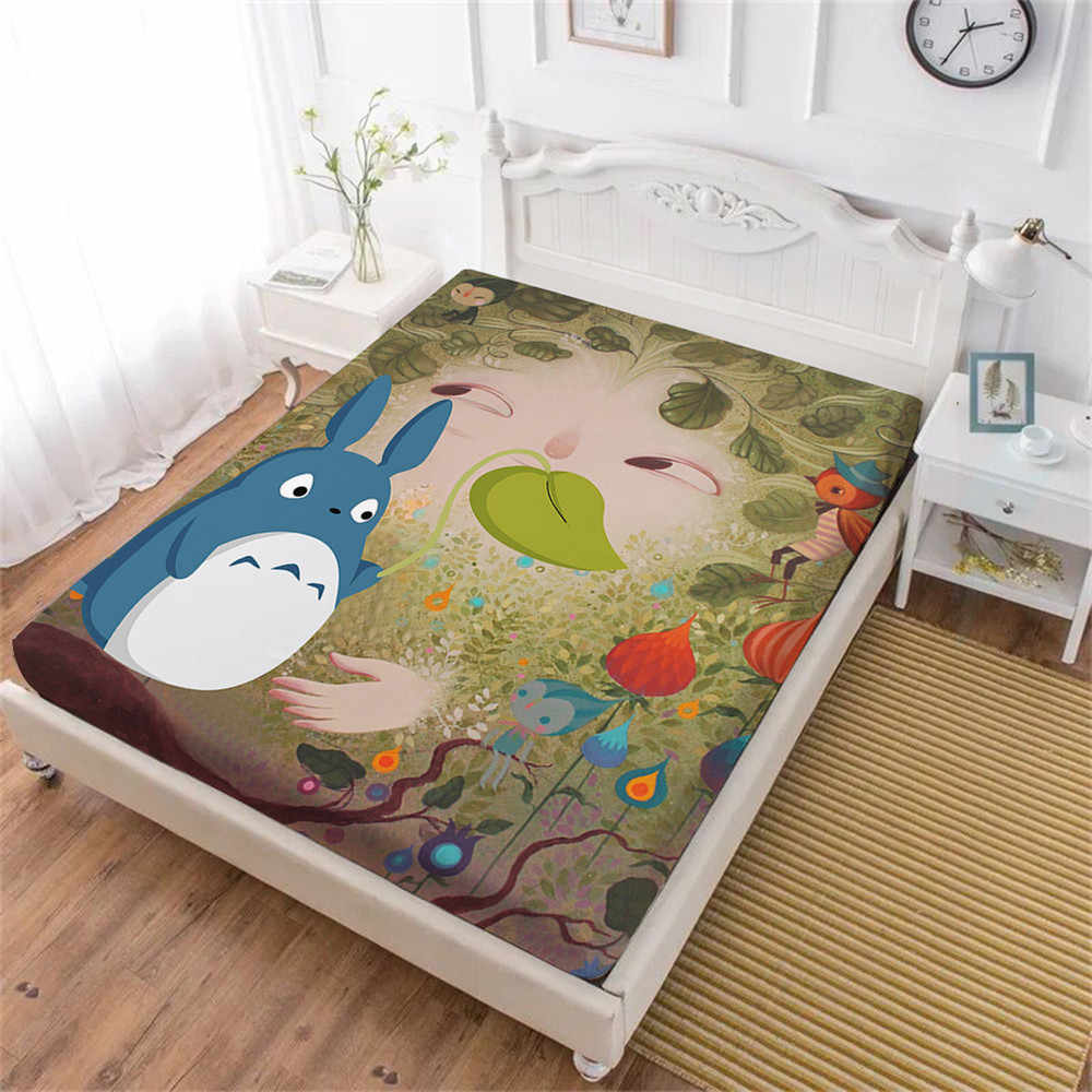 Cute Totoro Bed Sheet Cartoon Green Leaves Plant Print Fitted Sheet Twin Full King Queen Bedding Kids Bedclothes Deep Pocket D45