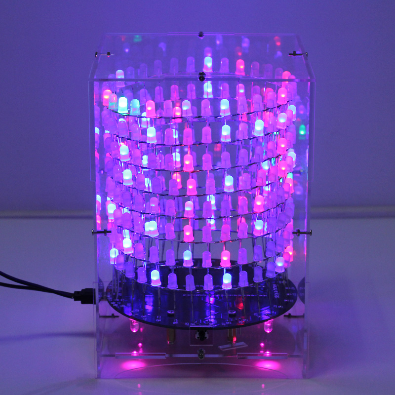 Colorful RGB Dream Light Circle 5mm LED DIY Kit Light Cube DIY Kit With Shell Music Spectrum Module 8x32 Dot Matrix for Gift