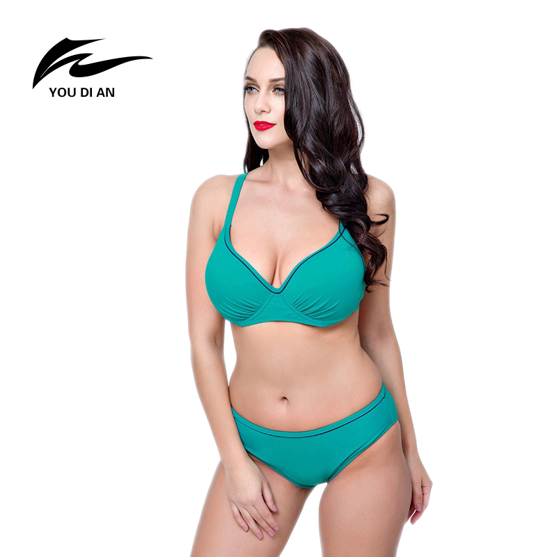YOUDIAN Sexy Push Up Plus Size Swimwear Solid Color Mid-waisted Bikini Set Lake Green Bathing Suits Big Chest Bikinis For Women sexy plunging neck push up plus size solid color bathing suit for women
