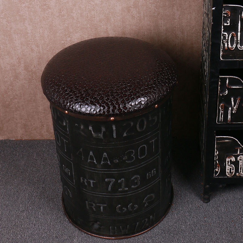 Nostalgic Creative Multi-functional Iron Drum Stool American Retro Creative Bar Coffee Creative Ornaments Ornaments Decoration