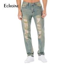 2019 New Mens Casual Jeans Men Hole Slim Straight Pleated Biker Jeans Pants Male Hombre Masculino Denim Casual Pants Plus Size недорго, оригинальная цена