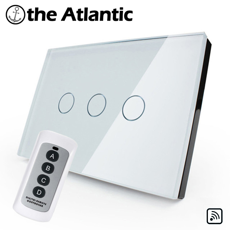 US/AU Standard  3 Gang  Crystal Glass Switch Panel Touch Sensor Wall Switch Light Switch Remotely Controlled 3 gang 1 way us au standard smart touch switch crystal glass panel wall light controler