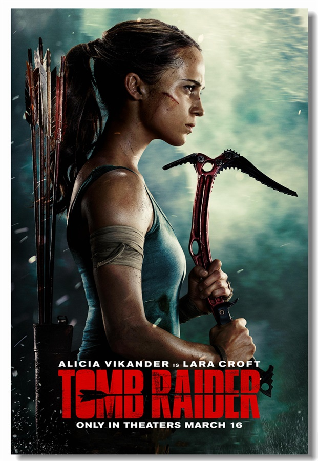 Custom Canvas Wall Decor Tomb Raider Poster Tomb Raider Wall Stickers Mural Alicia Vikander Wallpaper Cafe Office Decals #0341#