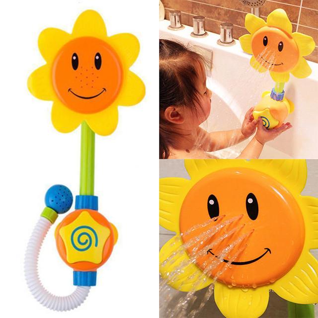Girassol Dos Desenhos Animados do banheiro Banho de chuveiro do bebê Caçoa o Presente Toy Flow 'N' Preencha Bico Torneira Aprendizagem Brinquedos Divertidos