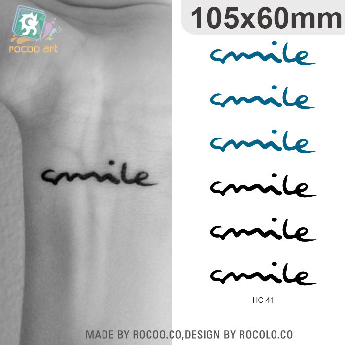 HC-41 Waterproof Temporary Tattoos Sticker Harajuku Smile English Letters Pattern Design Women Finger Wrist False Fake Tattoo