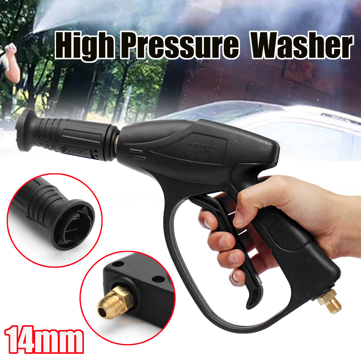New 3000 PSI High Pressure Power Car Washer-Gun Water Jet Cleaner 14mm Quick Connect for Car Pressure Power Washers