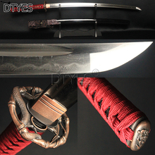 Damascus Clay Tempered Blade Japanese Samurai Katana Sword Full Tang 15 Times Folded Steel 32768 Layers Sharp Battle Ready