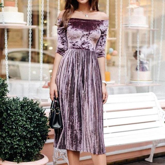 f65444f754 Women Velvet Vestidos 2017 Fashion Elegant Party Dress Off Shoulder Pleated  Swing Vintage Dress WS4176C