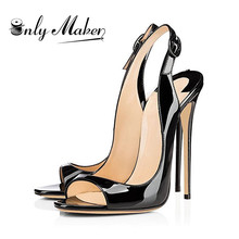 Onlymaker Women #8217 s Peep Toe Black Thin High Heels Gold Ladies Shoes 12cm Heels Fashion Female Heel Sandals Plus size US5~15 cheap Patent Leather Basic Thin Heels Open Rubber Super High (8cm-up) Casual Buckle Strap Fits true to size take your normal size