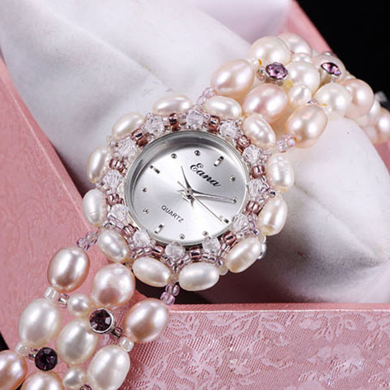 White Pearl Natural Beads Stone Women's Bracelet Watches Lady Designer Hours quartz Long Pearl Bracelet Watch Female luminous pearl bracelet stone bracelet rare stone bracelet