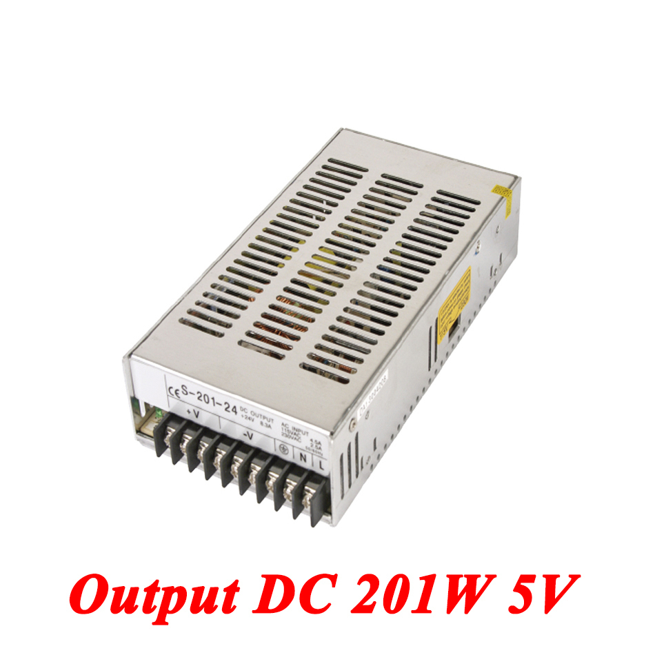 S-201-5 201W 5v 40A,Single Output ac-dc switching power supply for Led Strip,AC110V/220V Transformer to DC 5V,led driver s 100 12 100w 12v 8 5a single output ac dc switching power supply for led strip ac110v 220v transformer to dc led driver smps