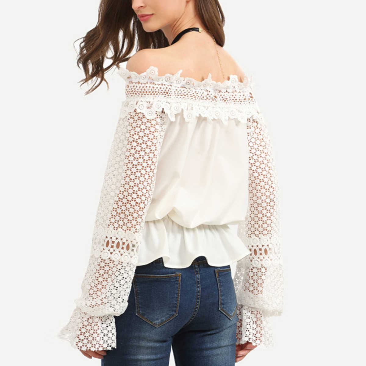014f6aa7d36 ... Women Off Shoulder Blouse Shirt Elegant Lace Long Sleeve Elastic Loose  Crop Top Casual Female Slash ...