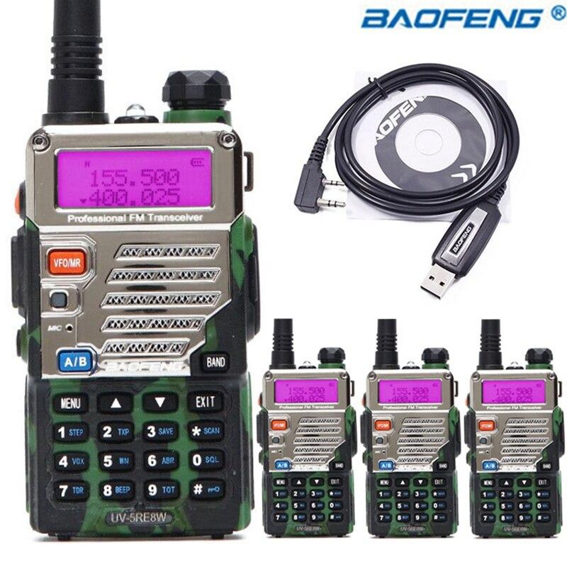 4PCS BaoFeng UV 5RE 8W Camo Walkie Talkie Dual Band UV 5RE Two way Radio VOX