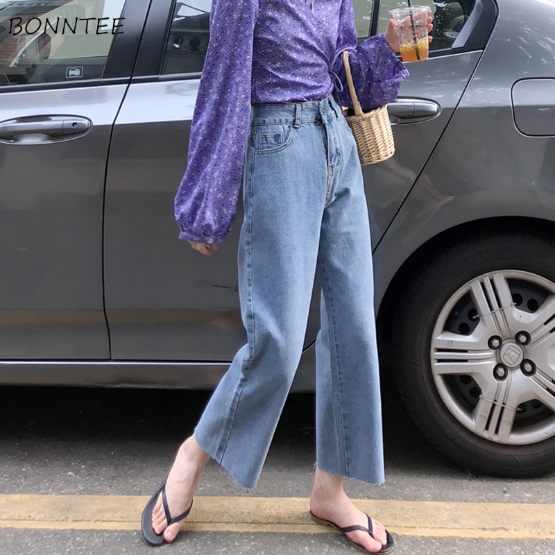 Jeans Women Spring Summer Trendy Korean Style Simple All-match Loose Streetwear Womens Trousers Chic Casual Retro High Waist