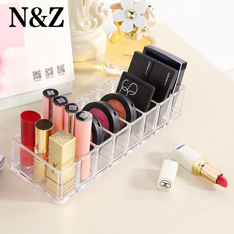 N&Z Clear Acrylic Brush Lipstick Holder Jewelry Makeup Organizer Display Cosmetic Makeup Tools Storage Box Case C221 360 degree rotation transparent makeup organizer case cosmetic brush storage holder box can freely change storey hight
