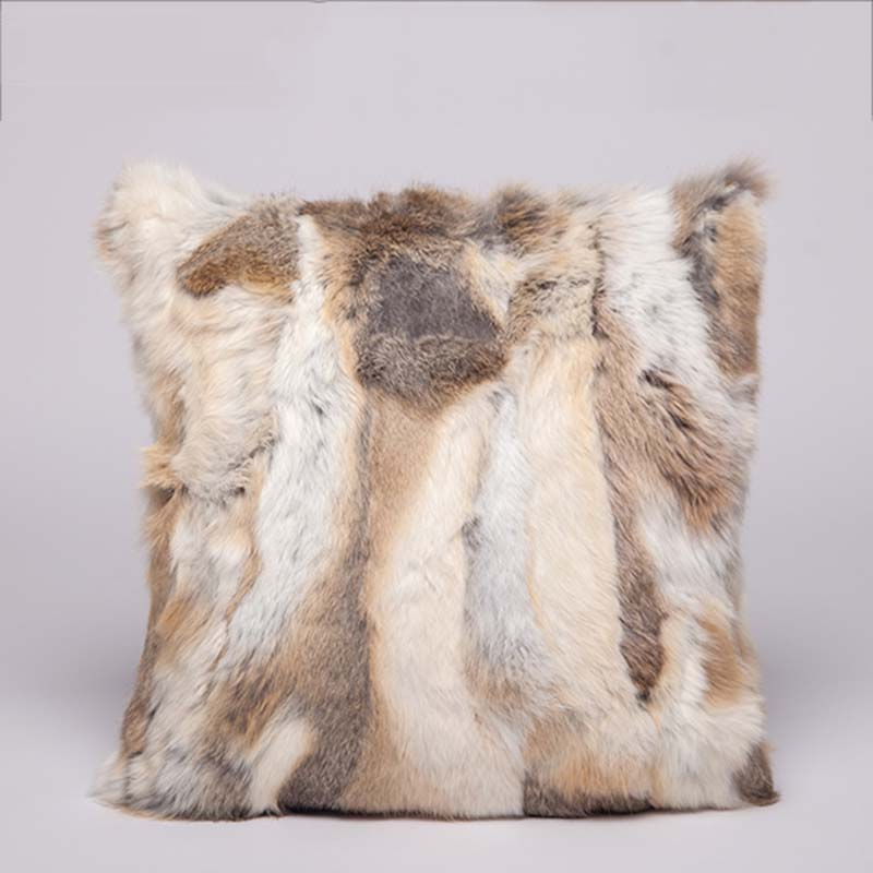 Rabbit fur pillow case color brown
