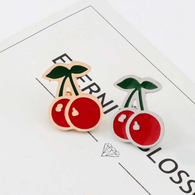 Cute small red cherry gold and silver brooch metal pin Women Kids badge Party Bag Dress jackets Accessorie couples decoration