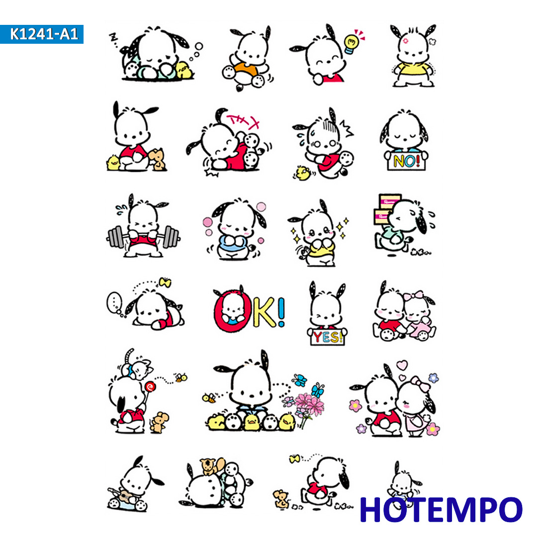 Anime Pochacco Dog Cartoon Cute Stickers For Girl Children Kids Gift DIY Letter Diary Scrapbooking Stationery Pegatinas Stickers