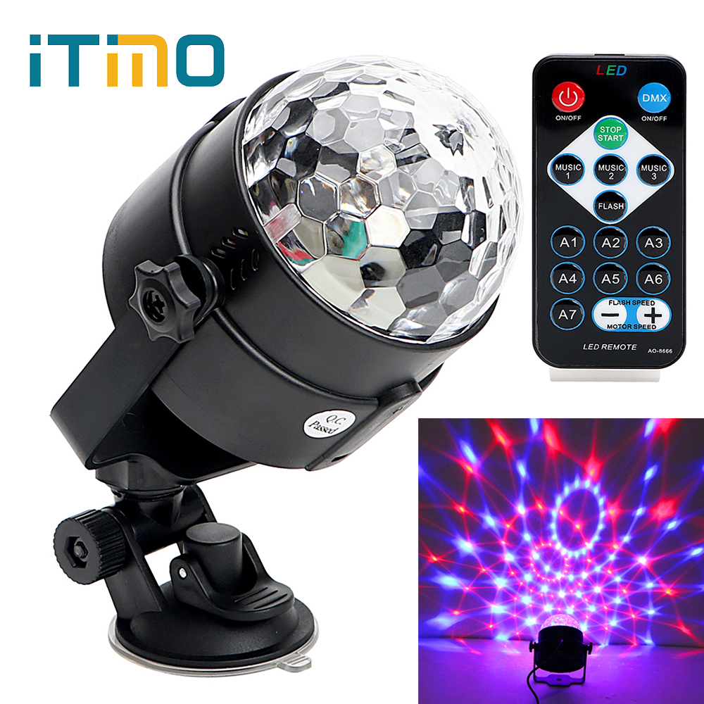 Holiday Projector Light RGB Crystal Auto Rotating IR Remote Stage Light LED Magic Ball Bar DJ Club Disco Stage Effect Lighting mini rgb led crystal magic ball stage effect lighting lamp bulb party disco club dj light show lumiere