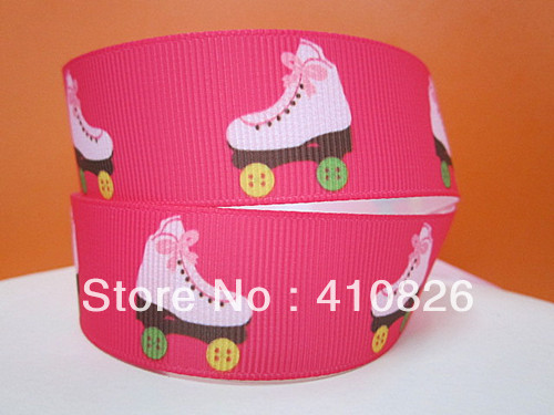 Q&N ribbon wholesale 125mm ice skates on hot pink printed grosgrain ribbon for hair bow 50yds/roll free shipping