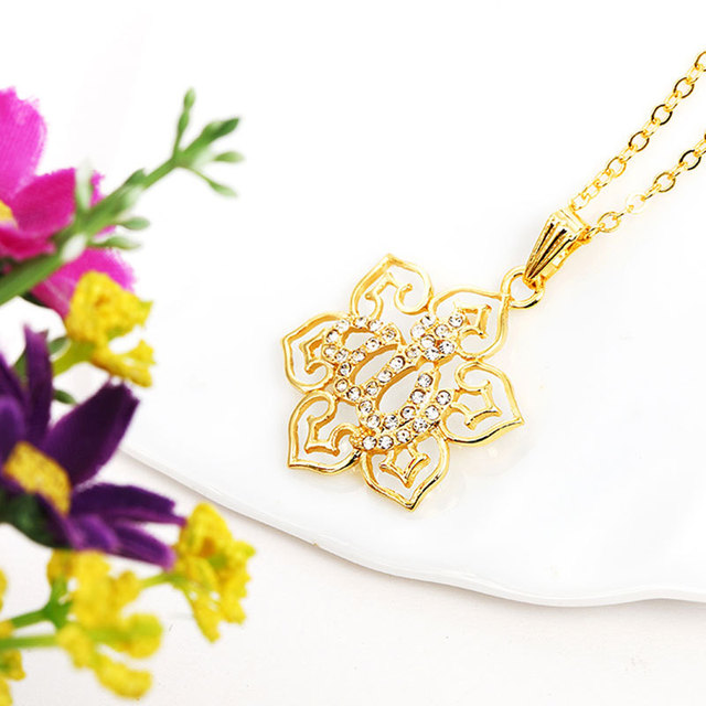 gorjuss islam allah islamic muslim fine jewelry necklace Fashion Gold Color Necklaces Pendants pendant fashion crystal jewellery 4
